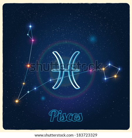 Vector constellation Pisces with Zodiac sign - stock vector