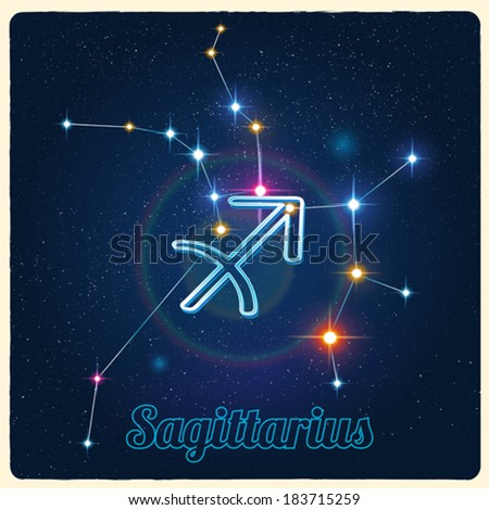 Vector constellation Sagittarius with Zodiac sign - stock vector