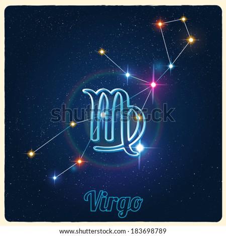 Vector constellation Virgo with Zodiac sign - stock vector