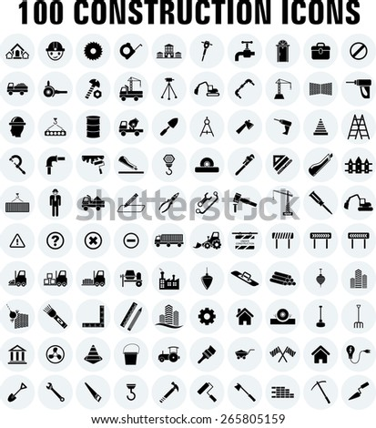 vector construction icon set - stock vector