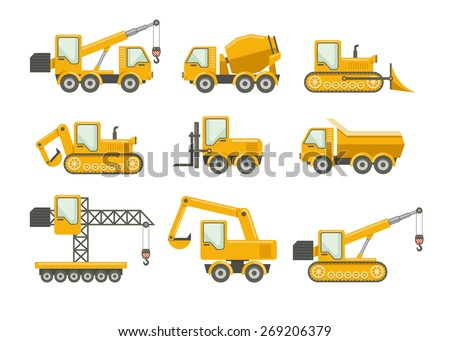 Vector construction icons set. Bulldozer and machinery, truckload and crane, excavator and mixer - stock vector