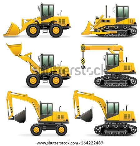 Vector Construction Machines Set 3 - stock vector