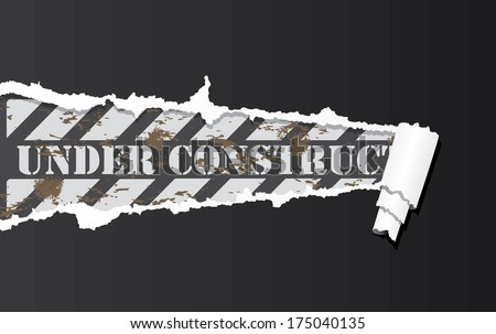 Vector construction sign under ripped paper. - stock vector
