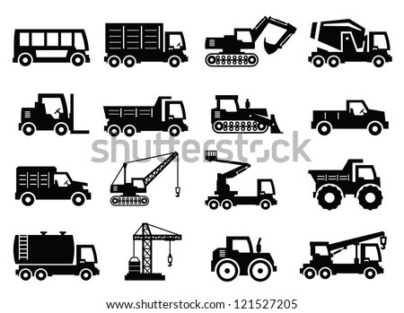 vector construction transport icons set on gray - stock vector
