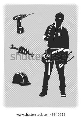 vector construction worker with tools and hardhat - stock vector