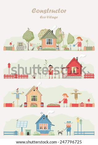Vector constructor - eco farm ( ecological set ) - stock vector
