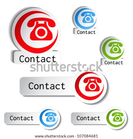 Vector contact buttons - phone icons