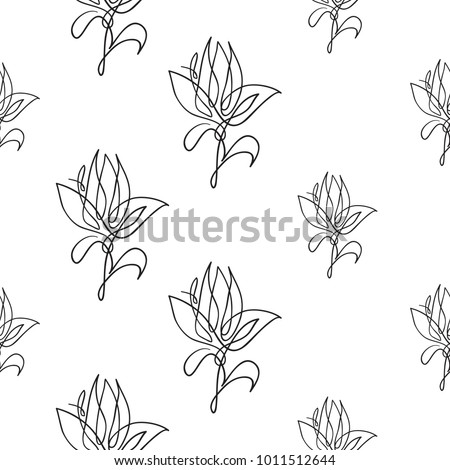 Vector continuos line drawing with abstract flower black simple hand drawn illustration on white background
