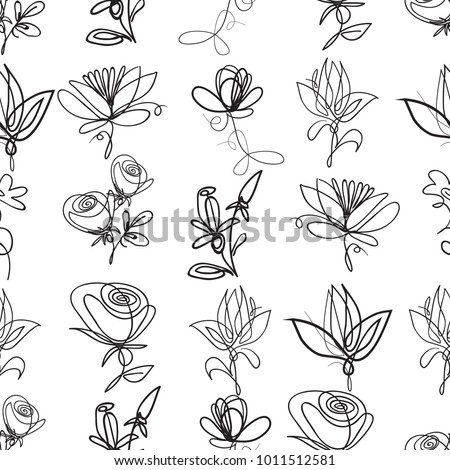 Vector continuos line drawing with roses petals daisy flowers abstract flower black