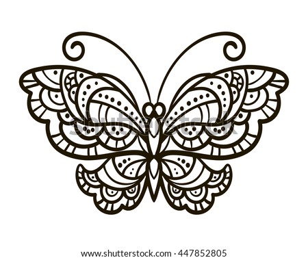 vector, contour, black and white illustration, butterfly