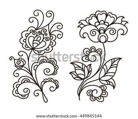 Vector Contour Black And White Illustration Set Flower Design Element
