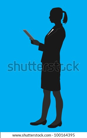 vector contour businesswoman - vector illustration - stock vector