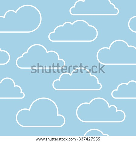 Vector contour cloud seamless pattern in blue and white