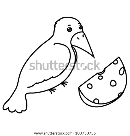 vector contour  crow with cheese, coloring, isolated on white background - stock vector