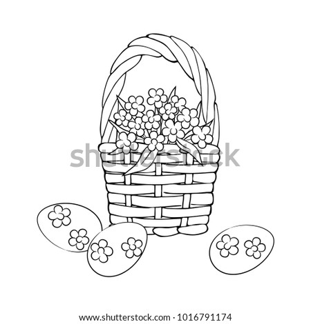 Vector Contour Forget Me Not Flowers And Easter Eggs In The Basket Coloring Page
