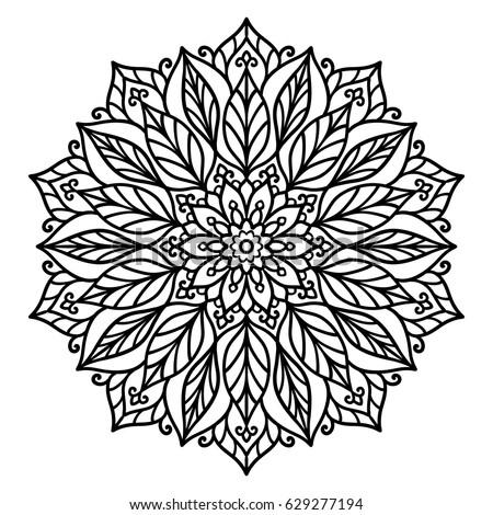 Vector Contour Illustration Mandala Flower Leaves Stock