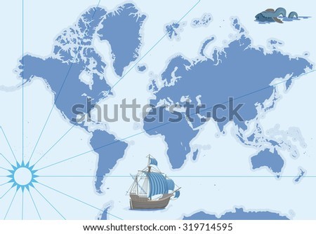 Vector contour map with ship and monster - stock vector