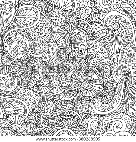 Vector contour pattern of flowers and leaves