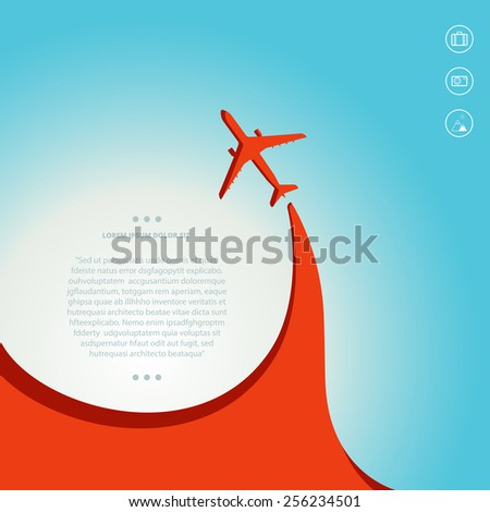 Vector contrast bright business avia card with airplane, minimalistic style, whirlwind of airplane, for travel agencies, aviation companies - stock vector