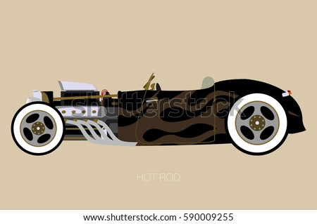 Vector Hot Rod Side View Car Stock Vector Shutterstock