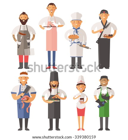 Vector cooking chefs vector illustration. Cartoon cook chefs icons. Restaurant cook chefs hat and cook uniform. Vector cooks, cooks uniform, cooks chefs, chefs isolated, cook people. Professions job - stock vector