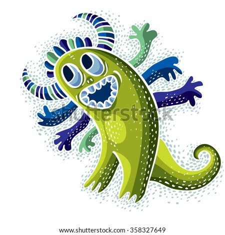 Vector cool cartoon happy smiling monster, simple weird creature. Clipart mythic character for use in graphic design and as mascot.  - stock vector