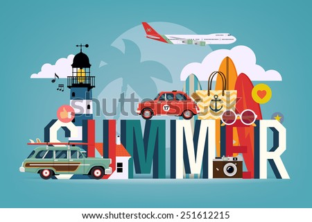 Vector cool colorful flat horizontal web banner or site page header image template on summer season, touristic destinations, water activities with surf boards, lighthouse, air plane, retro camera - stock vector