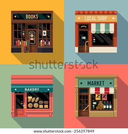 Vector cool flat design square architecture detailed icons on retro style local shop store facade with awning, book store, small bakery and grocery market | Small business icons with store facades - stock vector
