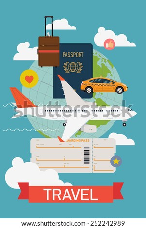Vector cool flat design web banner on airline tickets and travel with jet airliner flying, taxi, hand luggage, passport, boarding pass ticket and globe with clouds | Airfare booking printable poster - stock vector