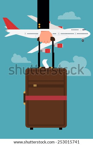 Vector cool flat design web banner or printable on business trip and travel with jet airliner flying, abstract businessman's hand holding cabin size luggage, and clouds | Business class airline trip - stock vector
