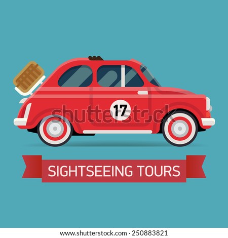 Vector cool flat design web icon on sightseeing tours with recreational transport vehicle retro small open top red city car with picnic basket installed  - stock vector