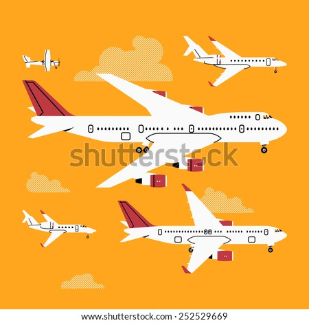 Vector cool four colors flat design web icons on commercial and private personal transport passenger jet and single engine air planes, airliner, business jet, jumbo jet, side view with wings - stock vector