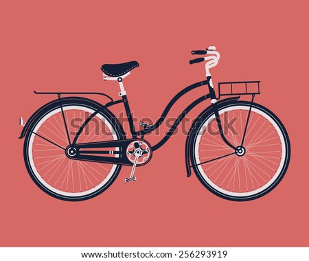 Vector cool three colored detailed illustration on retro vintage bicycle with front and rear racks, side view, isolated - stock vector
