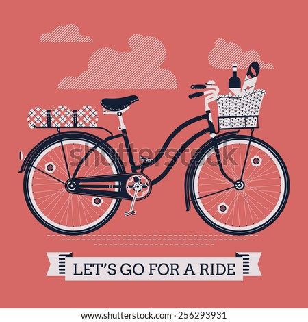 Vector cool three colored detailed web banner on 'Let's Go For A Ride' with vintage bicycle with wicker basket full of food like wine bottle, bread and apple and folded blanket on rear rack - stock vector