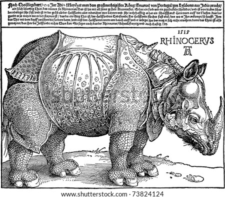 Vector copy of a Rhinoceros woodcut (1515) by German medieval artist Albrecht Durer