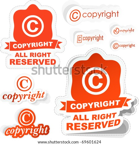 Vector copyright sticker set for sale. - stock vector