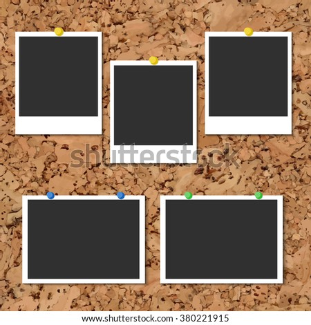 Vector cork board with photo cards and color pin - stock vector