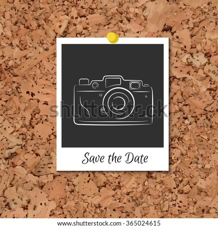 Vector corkboard with instant photo card - stock vector