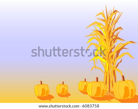 Cornstalk And Pumpkin Clipart Vector corn stalk with pumpkins. - stock ...