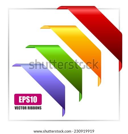 Vector corner ribbons - stock vector
