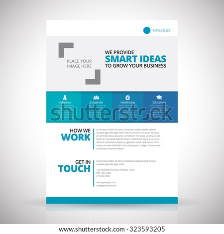 Vector corporate business fyler template of A4 size with 5mm bleed. - stock vector