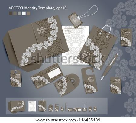 Vector corporate design for business artworks: folder, business card, invitation card, package, badge, blank, pen, dvd cover, envelope on floral background - stock vector