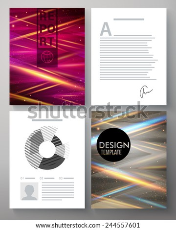 Vector corporate design template for a business report with two pages with colorful abstract patterns with beams of intersecting light and two with editable text and analytical charts - stock vector