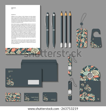Vector corporate identity grey polygonal design. Cards, letter, envelope, business cards, pencils, pens, tags, flash memory.  - stock vector