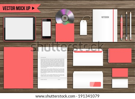Vector corporate identity mock up. Consist of tablet pc, smart phone, CD envelope, tag, notebook, folder, paper A4, letter, business cards, spiral notepad, pen, pencil. - stock vector