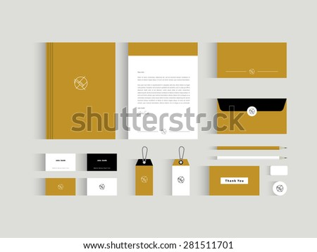 Vector corporate identity mock up. Light brown and black and white colors with abstract symbol - stock vector