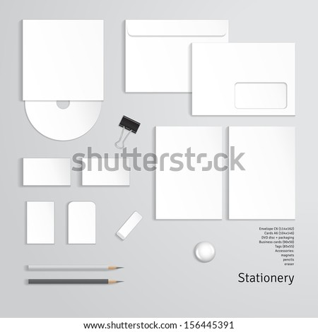 Vector corporate identity templates. Cards, envelope, business cards, pencils, tags, magnet, clip, eraser. - stock vector