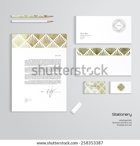 vector corporate identity templates letterhead envelope stock vector