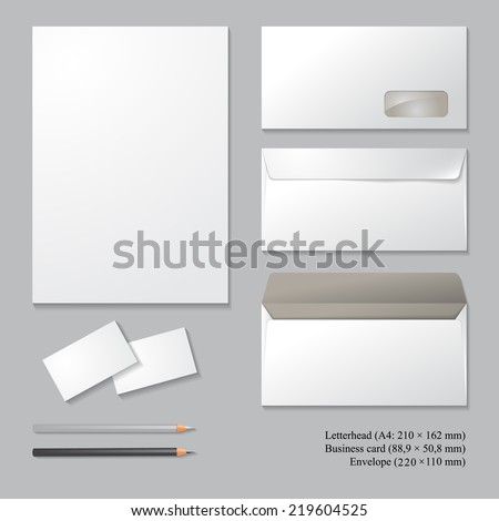 Vector corporate identity templates with shadows, isolated on gray background. Letterhead, envelope, business card, pencils. Templates for business design. - stock vector