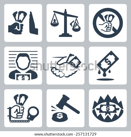 Vector corruption related vector icon set - stock vector
